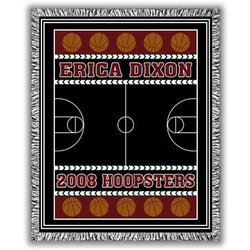 Classic Personalized Three Color Basketball Afghan