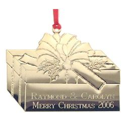 Engraved Christmas Package Tree Ornament