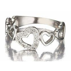 Diamond Multi Heart Promise Ring in 14k White Gold