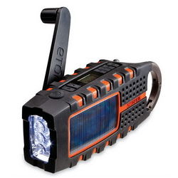Solar and Crank Powered Emergency Radio with LED Flashlight