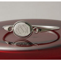 Personalized Braided Oval Bangle
