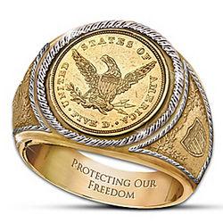 1839 $5 Eagle Proof Men's Ring