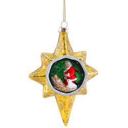 Gold Star Glass Kneeling Santa Ornament
