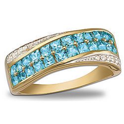 Brilliant Embrace Blue Topaz and Diamond Ring