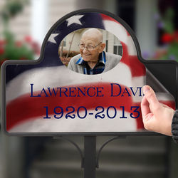 American Flag Memorial Stake with Photo Magnet