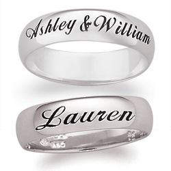 Sterling Silver Top-Engraved Name or Message Band