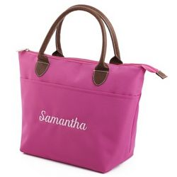 Insulated Pink Lunch Tote with Leather Handles