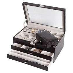 Black Croco Faux Leather Glass Top Locking Jewelry Box