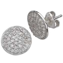 Sterling Silver Round Disc Cubic Zirconia Studded Earrings