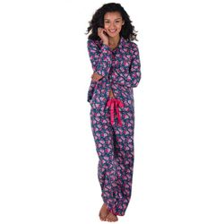 Women's Blue Floral Twilight Rose Boyfriend Pajamas