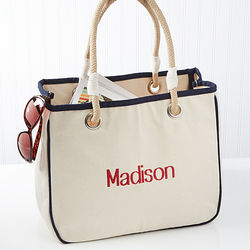 Embroidered Name Canvas Rope Tote
