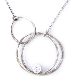 Hammered Silver Eternity Circles Necklace