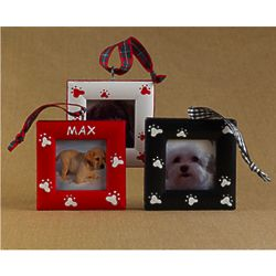 Personalized Dog Paws Picture Frame Christmas Ornament