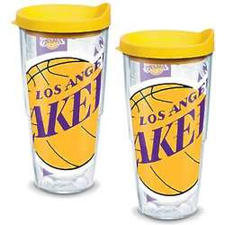 2 Los Angeles Lakers Colossal 24 Oz. Tervis Tumblers wth Lids