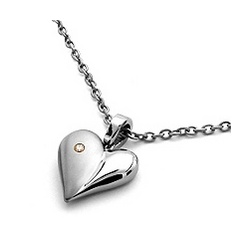 Titanium & Diamond Heart Necklace on Rolo Chain