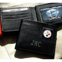 Personalized Black Leather Pittsburgh Steelers Wallet
