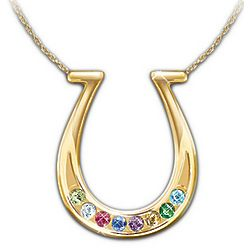The Good Fortune Lucky Horseshoe Jewel Pendant Necklace