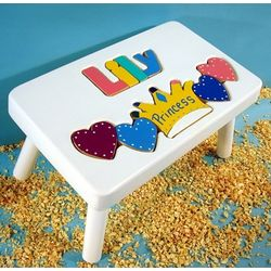 Personalized Princess Puzzle Stool in White Finish