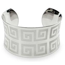 Ladies Greek Design Stainless Steel Cuff Bracelet
