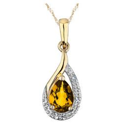 Citrine Pendant with Diamond Accents in 10K Yellow Gold
