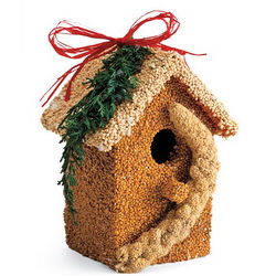 Natural Birdseed-Covered Wooden Birdhouse