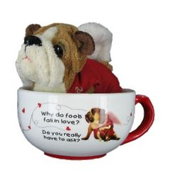 Cupid Mug and Stuffed Plush Dog