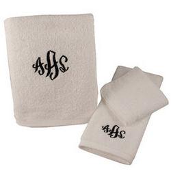 Personalized White Bath Towel Set