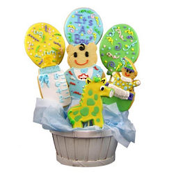 Baby Boy Sugar Cookie Balloon Basket