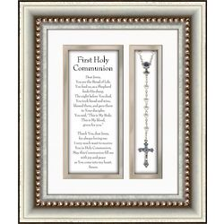 First Communion Prayer and Rosary in Silver Frame