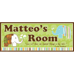 Boy's Personalized Canvas Elephant Name Sign