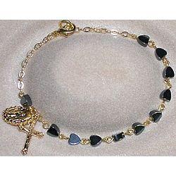 Gold Plated Hematite Heart Rosary Bracelet