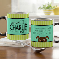 Dog Lover Personalized Black Handled Coffee Mug