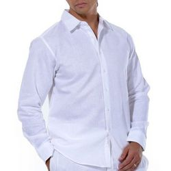 Linen and Cotton Blend Long Sleeve Shirt