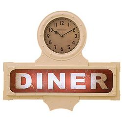 Light-Up Diner Sign with Clock