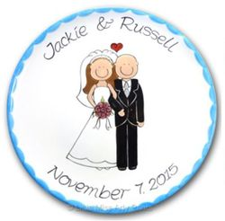 """Personalized Happy Couple Design 11"""" Wedding Plate"""