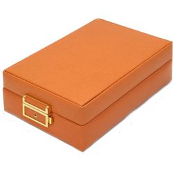 Leather Jewelry Case in Orange
