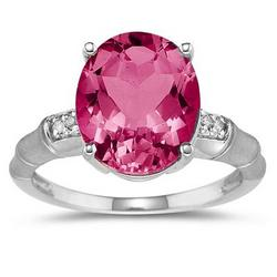 Pink Topaz and Diamond Ring in 14K White Gold
