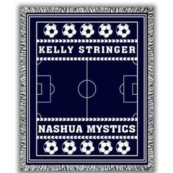 Classic Personalized Two Color Soccer Afghan