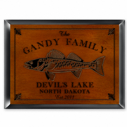 Personalized Walleye Cabin Sign