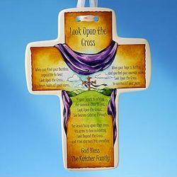 """Look Upon the Cross"" Ceramic Cross"