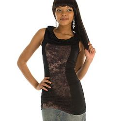 Black Cracked Riverbed Sleeveless Cowl Neck Top