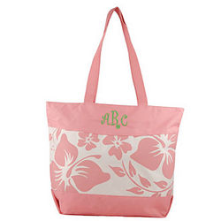 Personalized Pink Floral Beach Bag