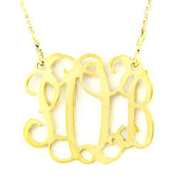 Personalized Small Goldtone Filigree Monogram Necklace