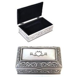 Pewter Claddagh Jewelry Box