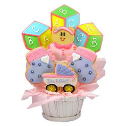 Baby Girl's ABC Blocks Sugar Cookie Basket
