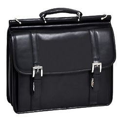 Cowhide Leather Double Compartment Laptop Briefcase