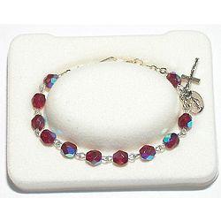 Youth's January Birthstone Rosary Bracelet