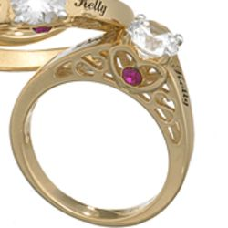 18K Gold Over Sterling Name and Hidden Birthstone Promise Ring