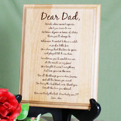 To My Dad Personalized Wood Plaque