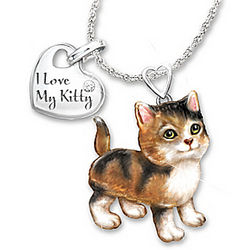 Calico Frisky Kitty Diamond Pendant Necklace